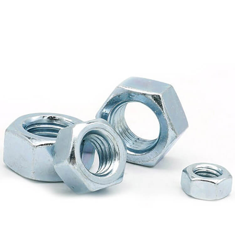 DIN934 Carbon Steel Hex Nuts Blue White Zinc Plated Grade 4.8 8.8 10.8