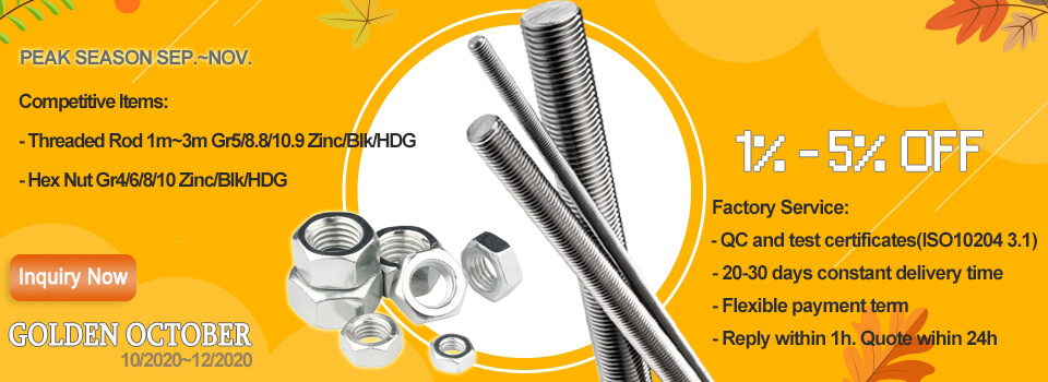 fasteners threaded rods and hex nuts with 5% off