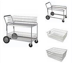 2 tier silver metal wire storage basket rolling file trolley book cart