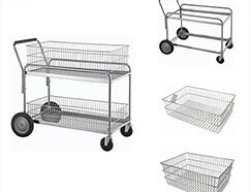 2 tier metal wire storage baskets file trolley mailcart