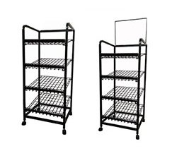 4 tier black metal wire supermarket bread shelf display rack cake stand
