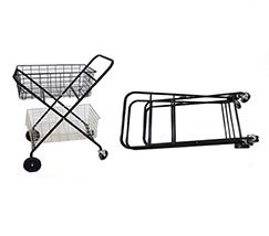 Black portable tennis ball cart trolley with metal wire storage basket
