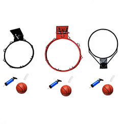 China factory direct supply three types 23cm kids basketball rim with nets set