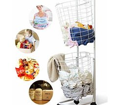 Two Layer Metal Wire Dirty Clothes Storage Basket Cart With Four Wheels